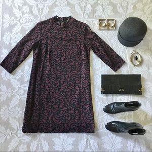 Dex guipure lace long sleeve minidress burgundy M